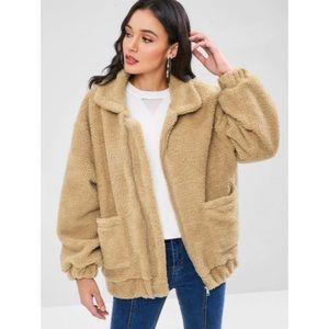 Fluffy Zip Up Winter Teddy Coat sz S